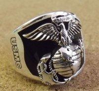 <USMC 米海兵隊 SILVER925 x オニキス RING #19号 新品>