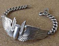<ヴィンテージ WWII 米陸軍航空爆撃隊 GUNNER WINGSパイロット SILVER仕様 ブレスレット>