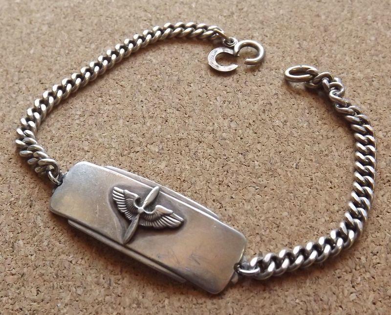 画像1: <ヴィンテージ WWII 米陸軍航空隊 パイロット 実名入ID SILVER仕様 ブレスレット>
